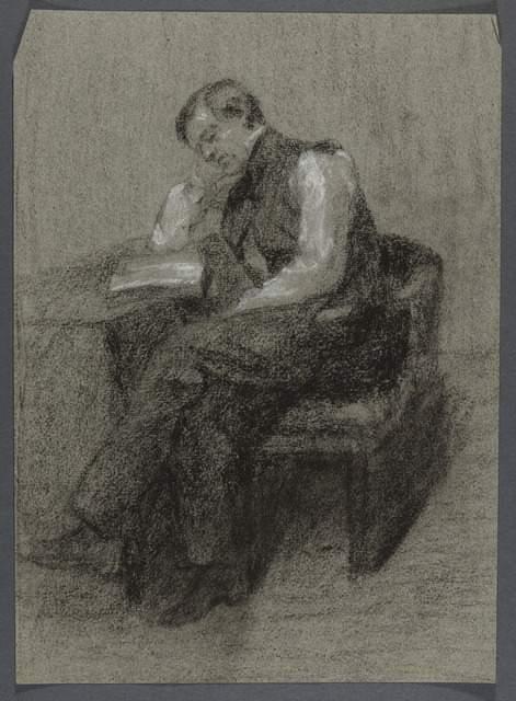 Alphonse Leroy, Homme assis lisant, un coude appuyé sur la table, 19e s., fusain, Lille