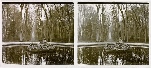 Bassin dans les jardins du château de Versailles, gélatino-bromure d'argent, 1e moitié du 20e s.