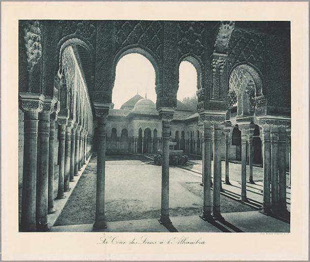 Braun, Clément et Cie. La cour des lions à l'Alhambra, photogravure, fin du 19e siècle.