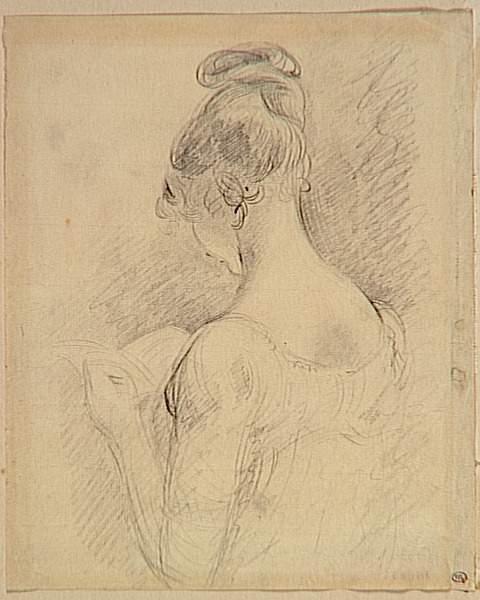 Constable, Buste de jeune fille vue de dos lisant, mine de plomb, Louvre.