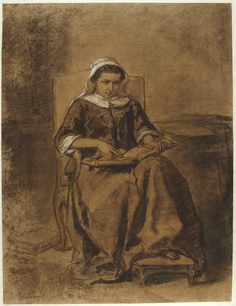Jules Trayers, Jeune femme lisant la bible, 19e siècle, fusain