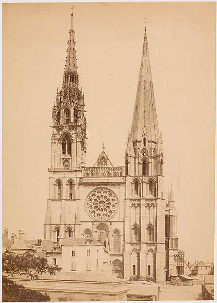 MIEUSEMENT Séraphin Médéric. Chartres. Cathédrale, façade ouest, papier albuminé, fin du 19e s.