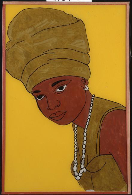 Babacar Lo, Portrait de femme au foulard doré, années 1950, musée du quai Branly