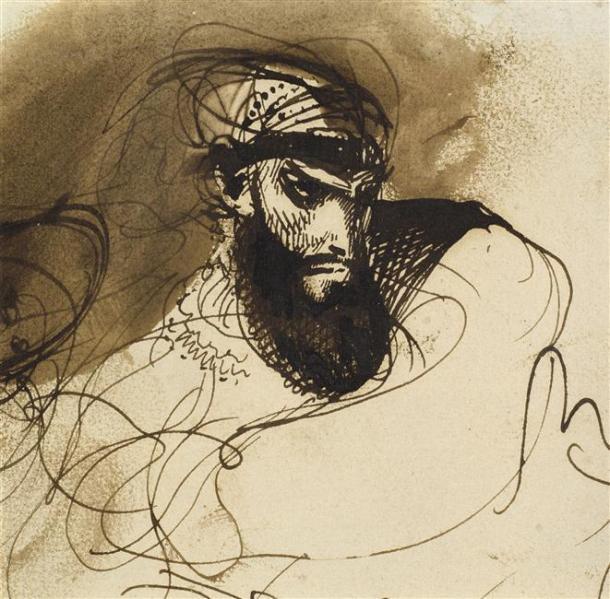 Delacroix, Feuille d'étude pour La Mort de Sardanapale, Louvre