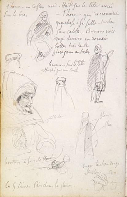 Delcaroix, Album d'Afrique du Nord et d'Espagne, croquis d'Arabes et tête coiffée, 1832, Louvre
