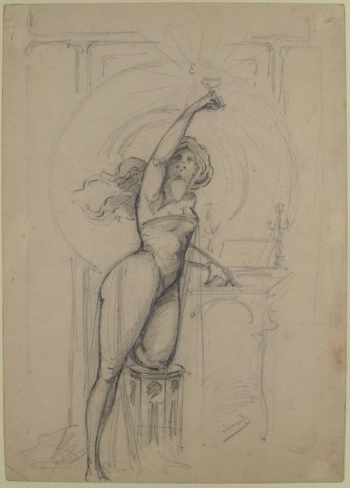Dessin pour une publicité de champagne vers 1900, Jean Roch Isnard, MET, NY