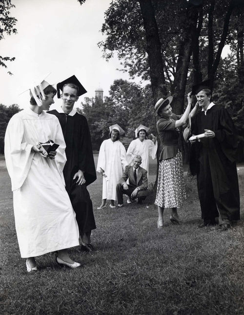 Eastman Kodak Advertisement, Teenager with Camera and her Friends after Receiving their Highschool Diplomas, 1946-52
