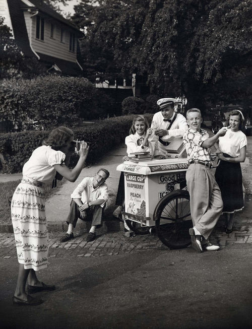 Eastman Kodak Advertisement, Teenager with Camera Making a Snapshot of her Friends Buying Ice Cream from a Neighborhood Good Humor Vendor, 1946-52