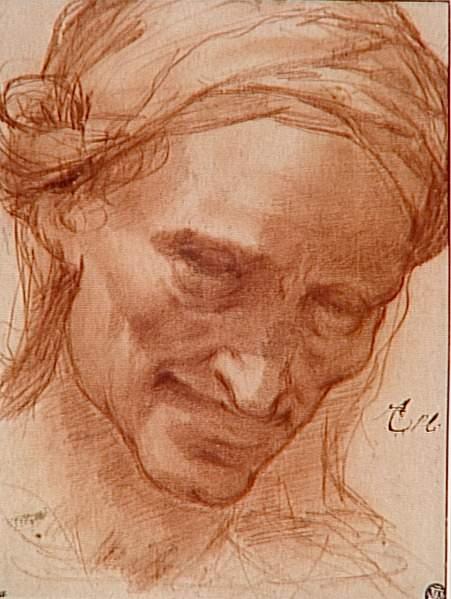 Lodovico Cigoli, Tête de vieille femme souriante, coiffée d'un turban , 16e siècle, Louvre