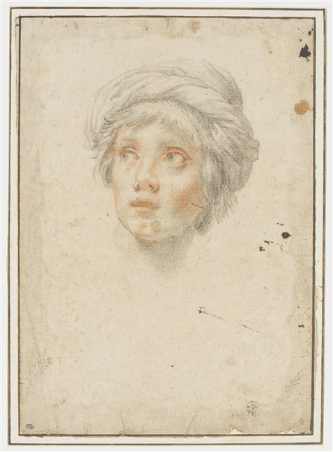 Lorenzo Lippi, Tête d'homme de face, coiffé d'un turban, 17e siècle, Louvre