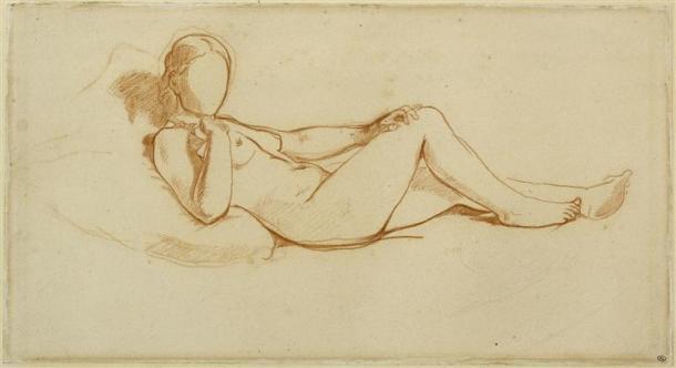 Manet, Etude pour l'Olympia, femme couchée, visage non dessiné, 1862-1863, musée d'Orsay, Paris