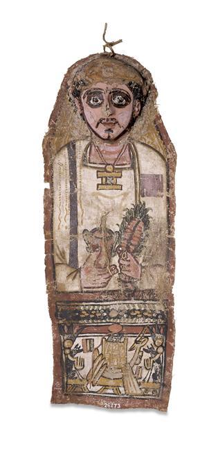 Masque funéraire de Pachons, fils de Psesarmese, époque romaine, trouvé sur le site de Deir el-Bahari, British Museum, Londres