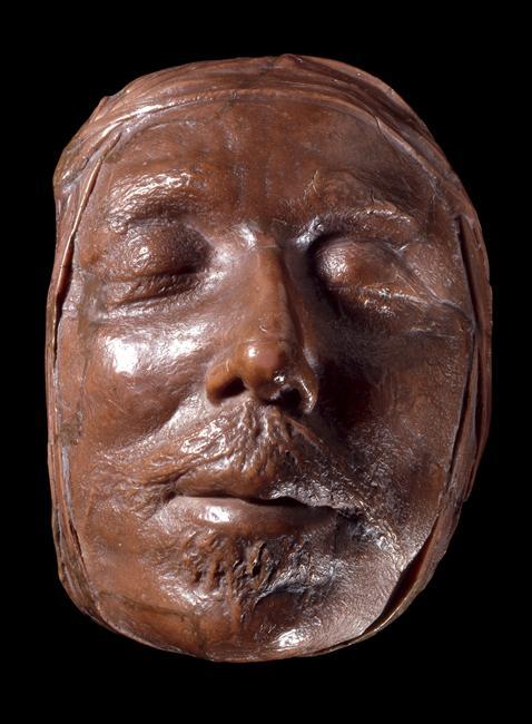 Masque mortuaire de cire d'Oliver Cromwell, cire colorée, 17e siècle, British Museum, Londres