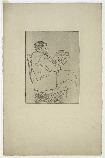 Picasso, Portrait de Pierre Reverdy lisant rue de La Boétie, 1922, eau-forte et papier velin