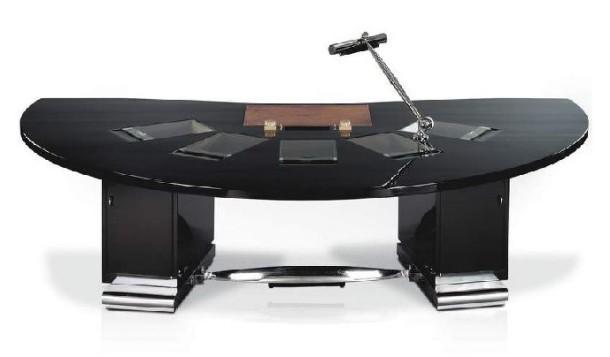 Emile-Jacques Ruhlmann_Bureau 'Tardieu'_ 1929_ en laque cellulosique noire_ le fauteuil en métal chromé et laque